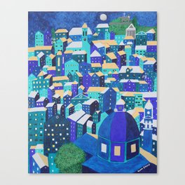 Moonlit Roofs, Corfu Town Canvas Print