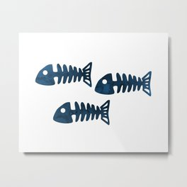 Fish Skeleton Metal Print