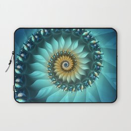 Mystical Gold and Blue Spiral Laptop Sleeve