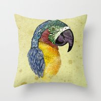 parrot Throw Pillows featuring Parrot by SilviaGancheva