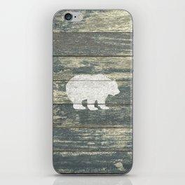 Rustic White Bear on Teal Wood Lodge Art A231c iPhone Skin