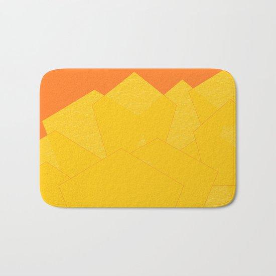 Colorful Yellow Abstract Shapes Bath Mat