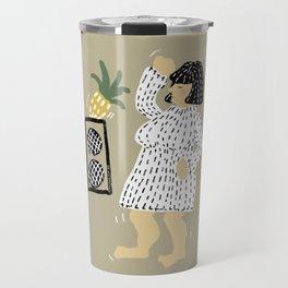 Woman dancing with pineapple Travel Mug
