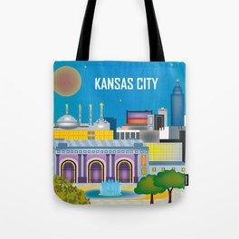 Kansas City, Missouri - Skyline Illustration by Loose Petals Tote Bag