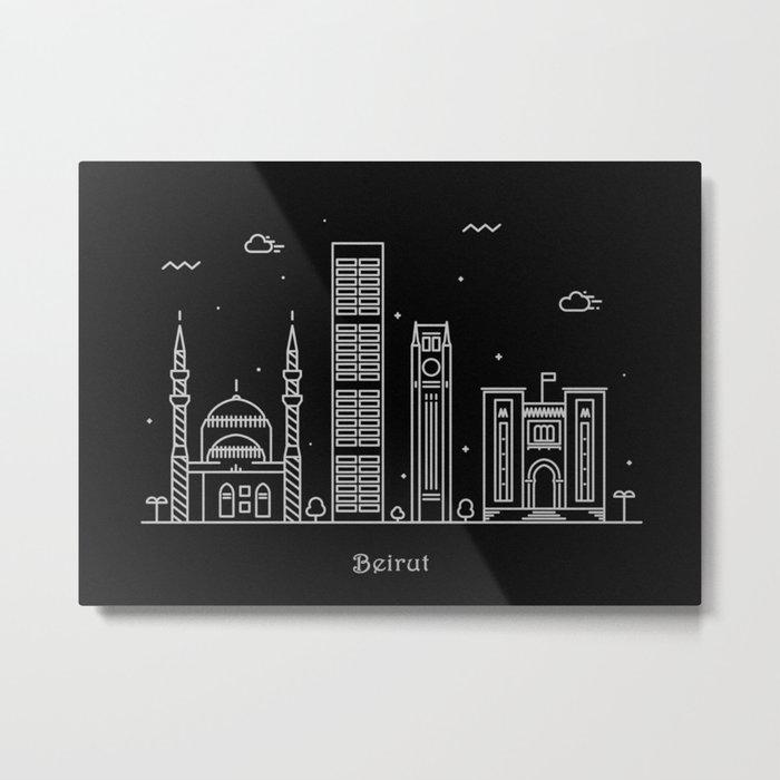 Bairut Minimal Skyline Drawing Metal Print