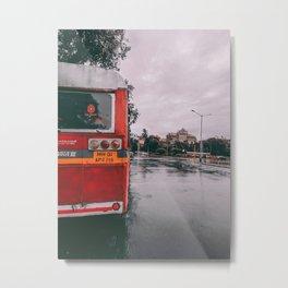 Red Bus Metal Print