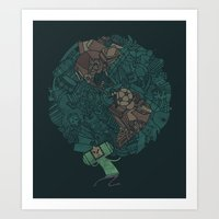 katamari Art Prints featuring Prince Atlas by Hector Mansilla