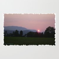 vermont Area & Throw Rugs featuring Vermont Sunset over Green Mountains of Vermont by Vermont Greetings