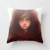 red hood Throw Pillows featuring Red Hood by D'Frikki