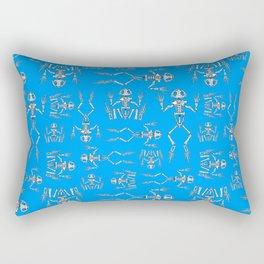 frog skeletons on blue Rectangular Pillow