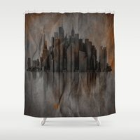 metropolis Shower Curtains featuring Metropolis by Robin Curtiss