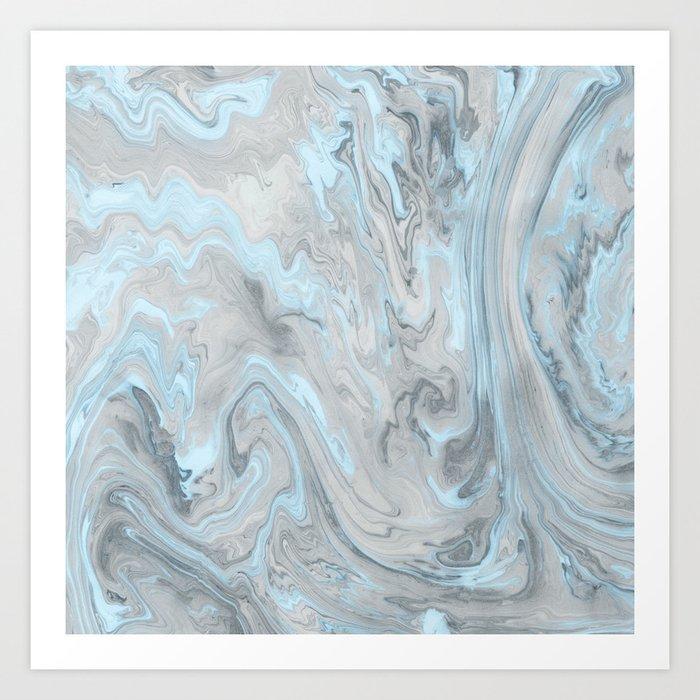 Ice Blue and Gray Marble Kunstdrucke