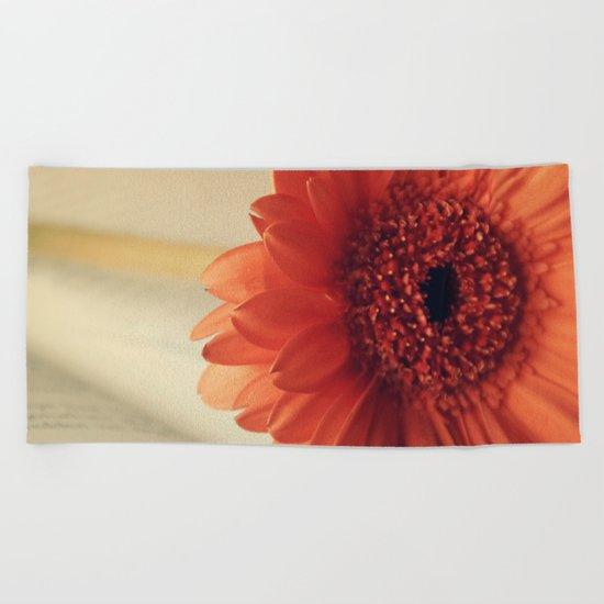 Golden Sunlight Orange Gerbera Beach Towel