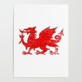 Welsh Dragon With Grunge Poster