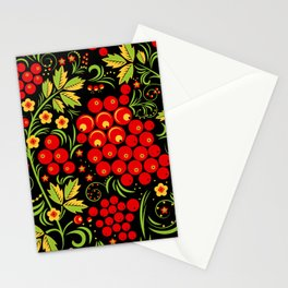 Red berry ornament khokhloma Stationery Cards