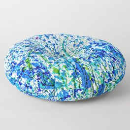 Splattered Blue! Transparent Floral Abstract - Painting Floor Pillow