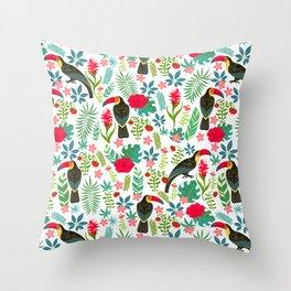 Floral Toucan Throw Pillow