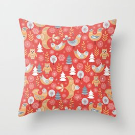 Fairy forest, deer, owls, foxes. Decorative pattern in Scandinavian style on a red background. Folk Throw Pillow