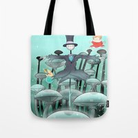 studio ghibli Tote Bags featuring Studio Ghibli Jumping by Whimsette