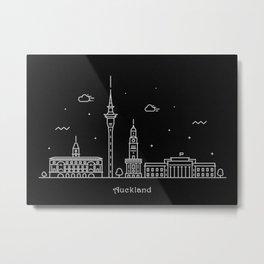 Auckland Minimal Nightscape / Skyline Drawing Metal Print