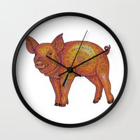 piglet Wall Clocks featuring Patterned Piglet by artworkbyemilie
