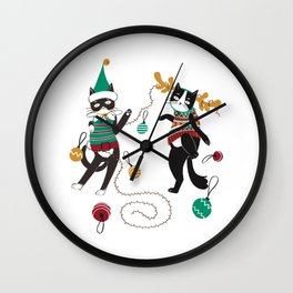 Christmas Party Cat Wall Clock