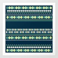 Geometry in Indigo and Teal Art Print
