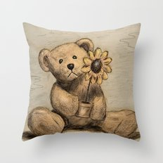 Teddybear with a sunflower Throw Pillow