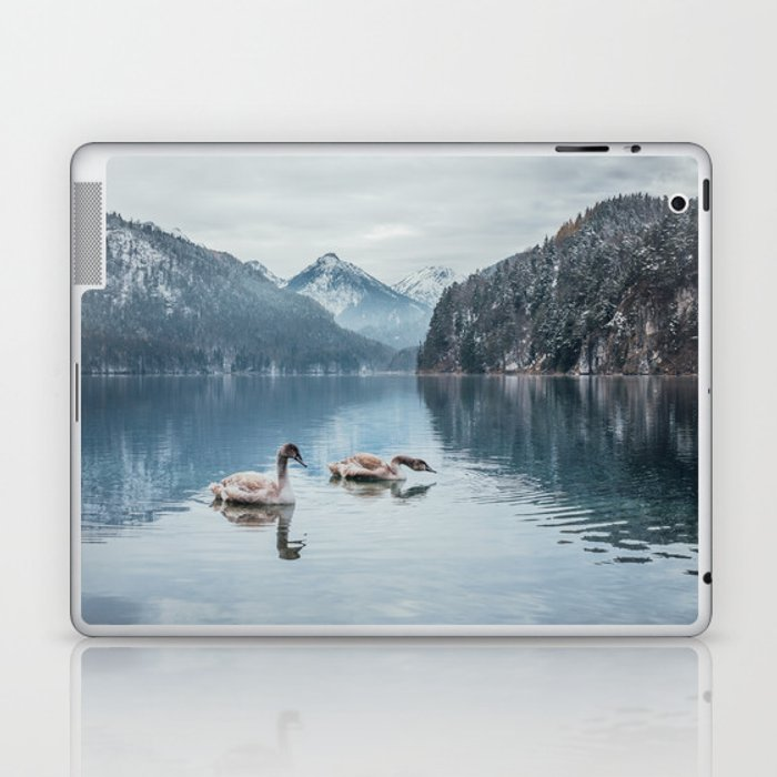 Swans on the Apsee lake, Bavrian alps Laptop & iPad Skin