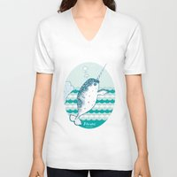 narwhal V-neck T-shirts featuring Narwhal by 。i。f。studio