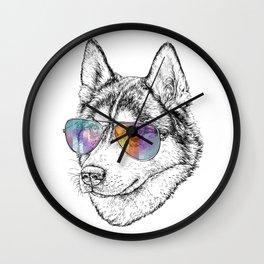 Husky Dog Graphic Art Print. Husky in glasses Wall Clock