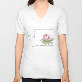 washington // watercolor rhododendron state flower map Unisex V-Neck
