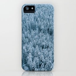Winter pine forest aerial - Landscape Photography iPhone Case