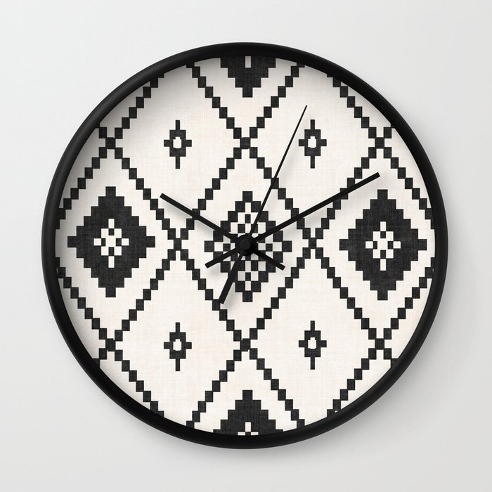 Salah In Black And White Wall Clock by Becky Bailey - Black - Black