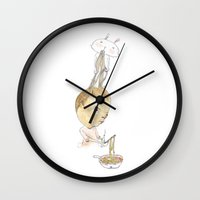 men Wall Clocks featuring Ra-men by whiners_