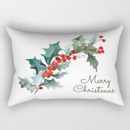 Holly Branch Merry Christmas  Rectangular Pillow