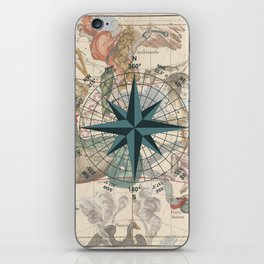 Compass Graphic with an ancient Constellation Map iPhone Skin