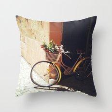 Yellow Bicycle Throw Pillow