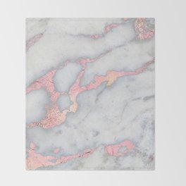 Rosegold Pink on Gray Marble Metallic Foil Style Throw Blanket