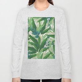 Tropical Leaves Pattern Long Sleeve T-shirt