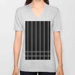 White & Gray Pinstripes on Scratched Black Grunge Illustration - Graphic Design Unisex V-Neck