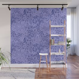 Birds and flowers in Blue Grey Lace Wall Mural