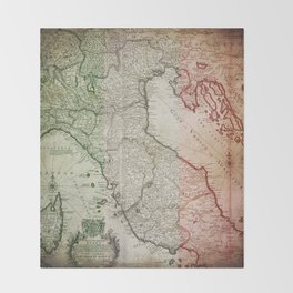 Vintage Map of Italy Throw Blanket