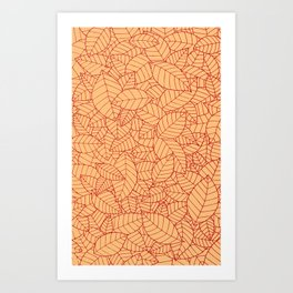 Hand drawn leaves pattern red Art Print
