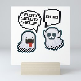 BOO YOURSELF Pixel ghosts scaring each other Mini Art Print