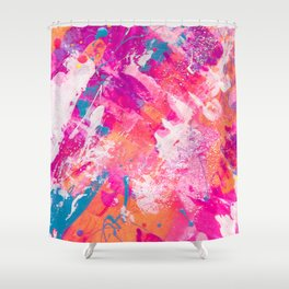 Vibrant Colorful Abstract Splatter Painting with Glitter Shower Curtain