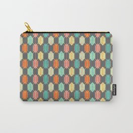 Midcentury Hexagon Argyle on Grey Carry-All Pouch
