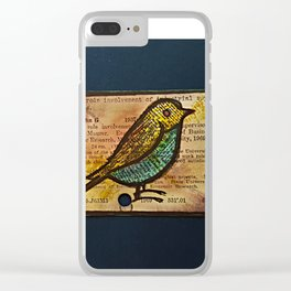 bird and a library catalogue card 2 Clear iPhone Case