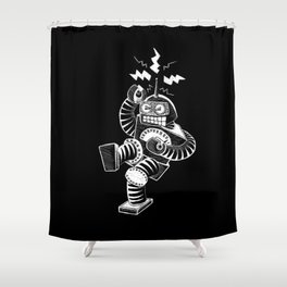 ELECTRIC! (Air-Guitaring Robot) Shower Curtain