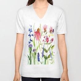 Botanical Colorful Flower Wildflower Watercolor Illustration Unisex V-Ausschnitt